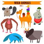Vector set of Wild animals in cartoon style