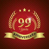 Celebrating 99 Years Anniversary - Golden Wreath Seal with Ribbon vector illustration
