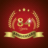 Celebrating 84 Years Anniversary - Golden Wreath Seal with Ribbon vector illustration
