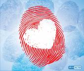 Creative Concept Vector Background - Heart Symbol on Thumbprint