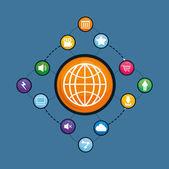Multimedia icon set around sphere. vector graphic
