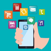 App concept and smartphone technology design vector illustration 10 eps graphic