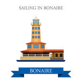 Sailing in Bonaire Flat cartoon style historic sight showplace attraction web site vector illustration World countries cities vacation travel Central North America Caribbean islands collection