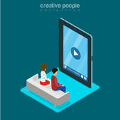 Isometric man and woman sitting freeze zombie watching video on huge smartphone phone tablet advertising concept Flat 3d isometry web site conceptual vector illustration Creative people collection