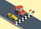 Flat style vector isometric illustration concept of competition between Ferrari and Lamborghini Lamborghini is well known in Europe for its tractors
