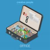 Micro mobile office in big briefcase concept flat 3d web isometric infographic concept vector Office walls interior rooms in opened business brief case Creative people collection