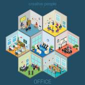 Flat 3d isometric abstract office interior room cells company workers staff concept vector Reception meeting conference training class accounting open space Creative business people collection