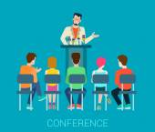 Flat abstract business office conference speaker on tribune and people listening Creative people collection