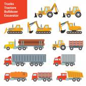 Flat city construction transport icon set Build your own world web infographic collection
