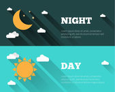 Sun moon and stars clouds icons Day and night sky vector banners Flat style illustration with long shadows Day time concept posters