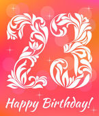 Bright Greeting card Invitation Template Celebrating 23 years birthday Decorative Font with swirls and floral elements