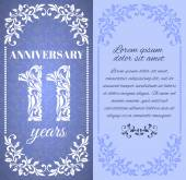 Luxus-Template mit floral Frame und ein dekoratives Muster für den 11-Jahre-Jubiläum. Es gibt einen Platz für text