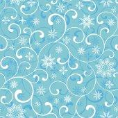Bezešvé vzor s spirála a sněhové vločky na modrém pozadí