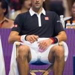 Постер, плакат: Novak Djokovic at exhibition tennis match