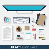 Plochý design vektorové ilustrace kancelář prostoru. Pohled shora na pozadí pracovní stůl s počítačem, kancelář objekty, poznámkové bloky a dokumenty s dlouhými stíny