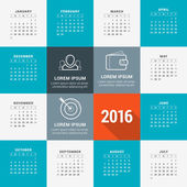Vector Design Template Calendar 2016 Week Starts Sunday