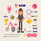 Set of Vector Icons and Illustrations in Flat Design Style Female Cartoon Character Sportsman Surrounded by Sports Equipment