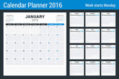 Calendar Set for 2016 Year. Vector Stationery Design Print Template. Week Starts Monday. 12 Pages