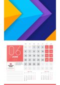 Calendar for 2016 Year June Vector Design Clean Template with Modern Abstract Background Logo and Place for Notes Week Starts Monday