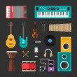 Постер, плакат: Set of Vector Flat Style Musical Instruments and Music Tools Icons Guitar Drums Speaker Headphones Keyboard Violin Vynil Microphone Player