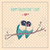 Happy Valentines day card with love birds