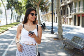 Attractive woman using cell telephone