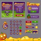 Rozhraní herní design (bar zdrojů a prostředků ikony pro hry) téma halloween