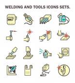 Welding work and welding tools vector icon sets
