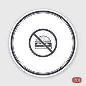 Log forbidden food Prohibitory sign Hamburger icon Sandwich icon Flat design style Emblem or label with shadow