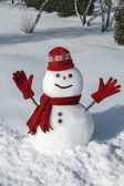 Amusing snowman in his red outfit