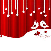 Festive card with birds in love for Valentine's day February 14 - day for all lovers Vector illustration