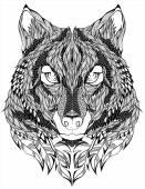 Wolf head vector tattoo