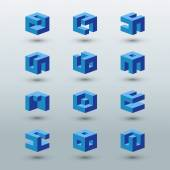 Abstract logo templates Set of cubic shapes Vector illustration