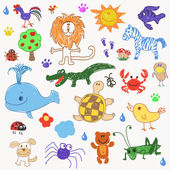 Childrens drawing doodle animals trees vector illustration