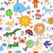 Childrens drawing doodle animals trees and sun seamless pattern vector illustration