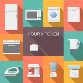Set of kitchen appliances flat icons  with  a washing machine  stove  fridge iron  microwave scale  kettle  coffee machine and toaster