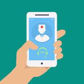Vecto lapos koncepció web design kezében mozgatható telefon-val orvosi segítséget és orvosi konzultáció online ikon
