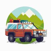 Cool retro styled fully equipped expedition safari SUV off road four wheel vector vehicle web icon | 4WD car isolated transportation traffic design element on mountain background in trendy flat design