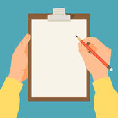 Vector modern flat illustration on hands holding clipboard with empty sheet of paper and pencil Clipboard with blank paper and pencil in the hands of a man