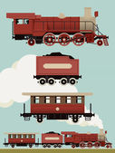 Vector set of weathered red steam locomotive with cars Vintage train set Railroad steam engine coal car and passenger car