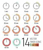 Vector set of timer icons with color blend from light turquoise to weathered red time scale Different time interval icons Fourteen clock faces with minutes ticking