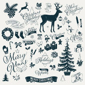Large vector set of Christmas themed items black on milk white silhouettes