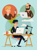 Vector modern flat design concept illustration on global connectivity and team working in business and industry with planet on background Businessmen having video conference using mobile devices