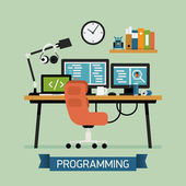 Vector modern flat design creative illustration on programming coding testing and debugging Programmer work space icon