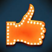 Vector realistic 3d volumetric icons on like and appreciate thumbs up symbol glowing with bulbs Marquee thumbs up gesture lit with lamps for social media marketing and presentation design