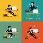 Vector modern flat character design on businessman at work Funny office character for web sites applications business strategy marketing presentations with bored confident tired and meditating man