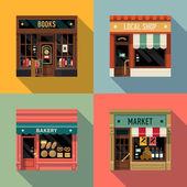 Malé firmy ikony s obchod fasády