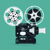 Cool retro movie projector vector detailed illustration Analog device: cinema motion picture film projector with different film reels