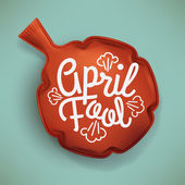 Cool april fool vector concept design with lettering and red whoopee cushion practical joke item