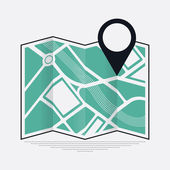 Cool vector web or application icon on location mark and position on map with abstract streets and river bed represented